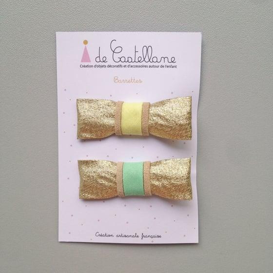 Image of Duo barrettes dorées : jaune et verte