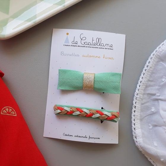 Image of Duo barrettes tresse et noeud : vert d'eau - corail et beige
