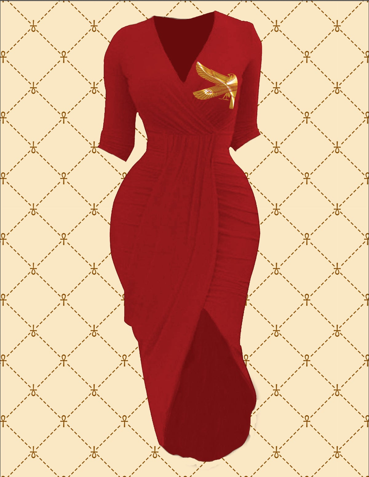 Image of NASIRAH SAHAR COLLECTIO™ GOLD HRU RUCHED WRAP DRESS
