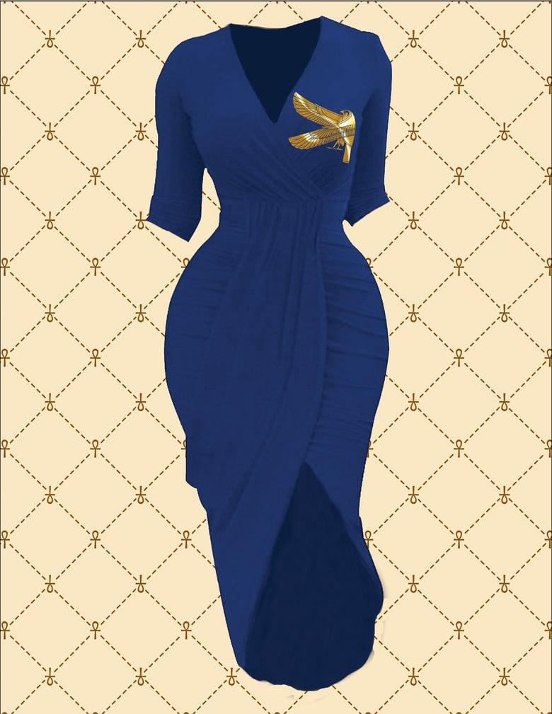 Image of NASIRAH SAHAR COLLECTIO™ GOLD HRU RUCHED WRAP DRESS