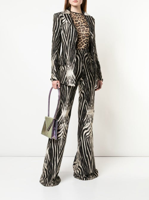 Image of Zebra Print Flared Trousers