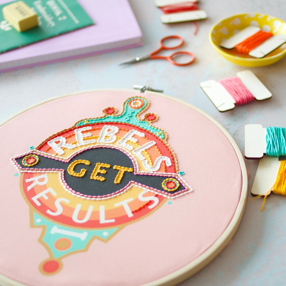 Cotton Clara x Rebecca Strickson: Rebels Get Results Embroidery Hoop Kit