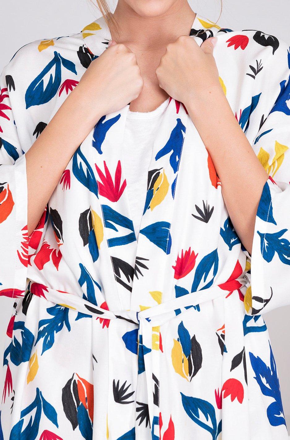 Image of Kimono twill viscose ANGELINE imprimé primaire 139€ -60%