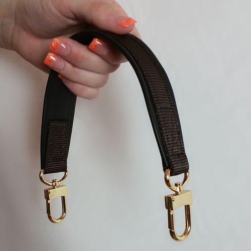 """Image of Black Leather Grab/Top Handle with Nylon Accent - 1.5"""" Wide Handle - 9 Nylon Colors - #16LG Hooks"""