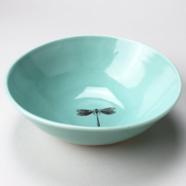 Image of soup bowl with dragonfly, aqua