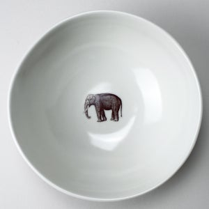 Image of soup bowl with elephant, ivory