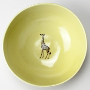 Image of soup bowl with giraffe, mustard