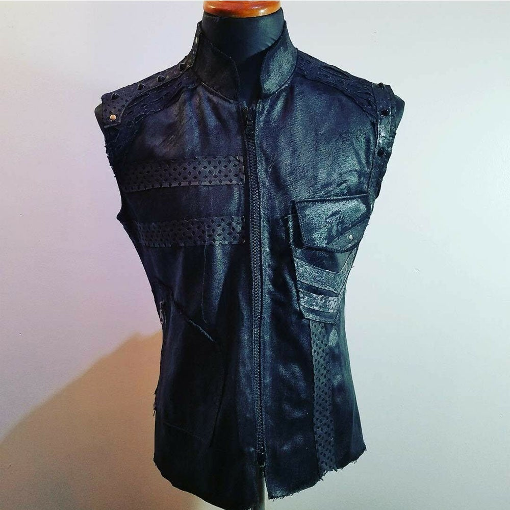 Image of Post Apocalyptic Black Denim Vest