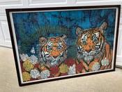 Image of MID CENTURY MODERN ELBER BATIK TIGER FRAMED 37 x 25 PRINT - RARE