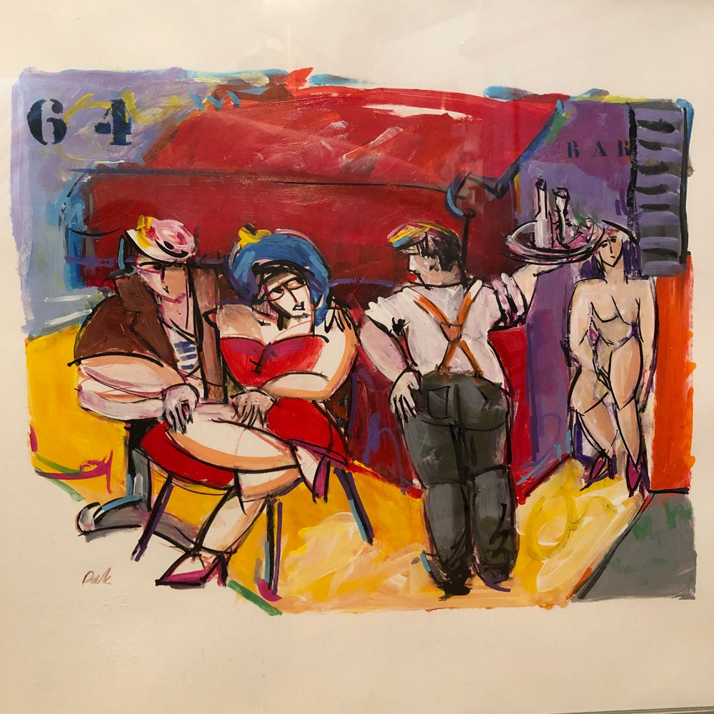 "Image of French Famous Artist Pierre Pak Painting ""64 BAR"" 27"" X 21"" Comic"