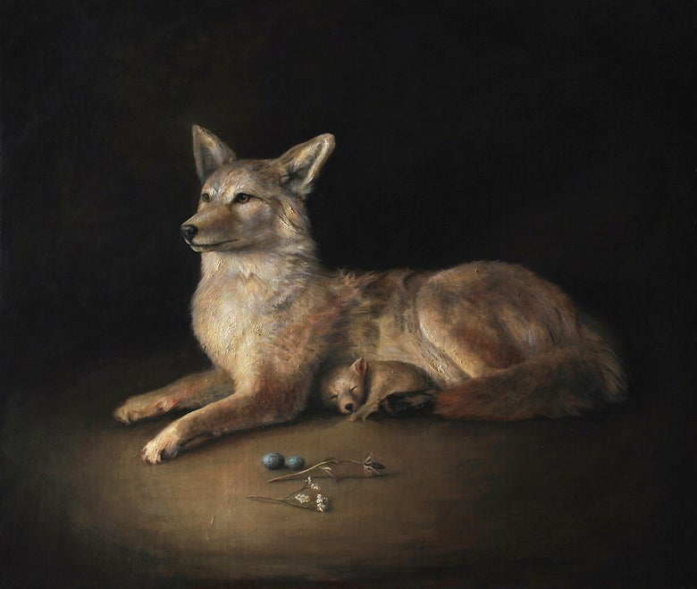 Image of Luke Hillestad 'Coyote Mother' original oil painting