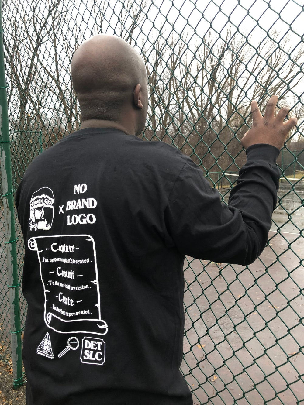 "Common Grip x No Brand Logo ""MWD and Skeleton hands"" black long sleeve t-shirt"