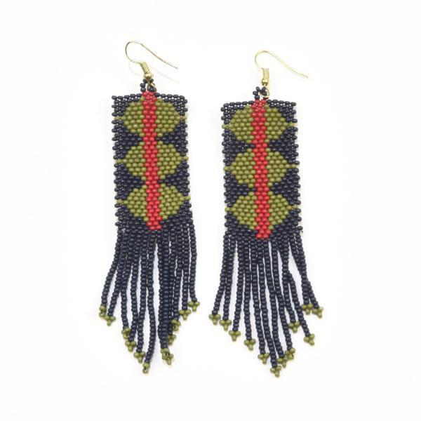 Image of Navy + Green Geometric Seed Bead Fringe Earrings