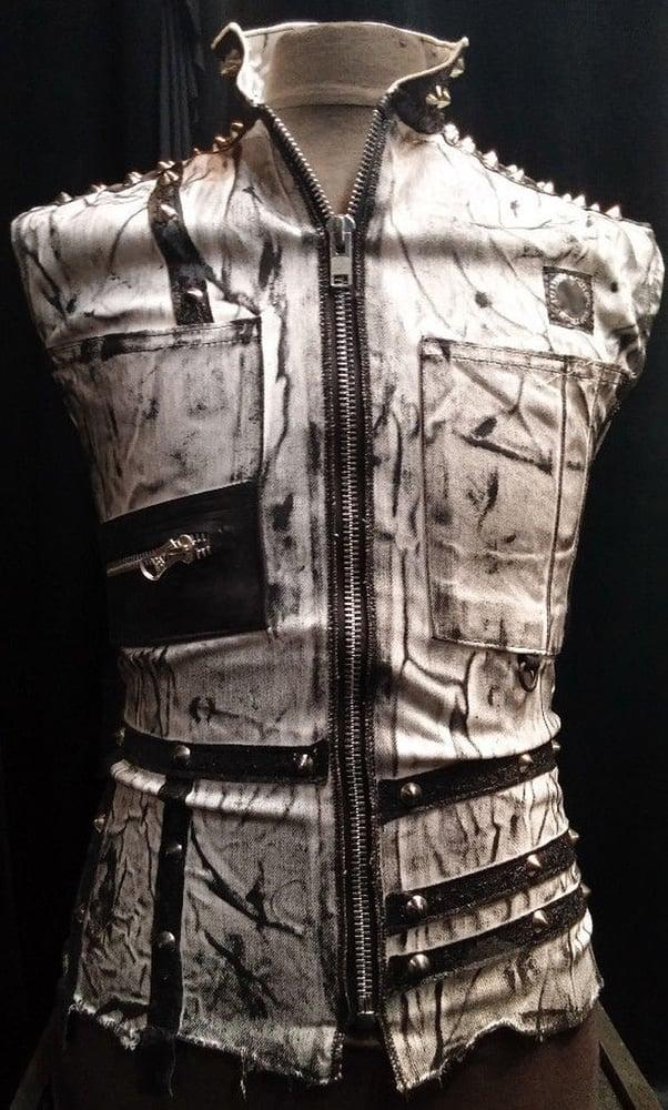 Image of Studded Stone Washed Punk Vest