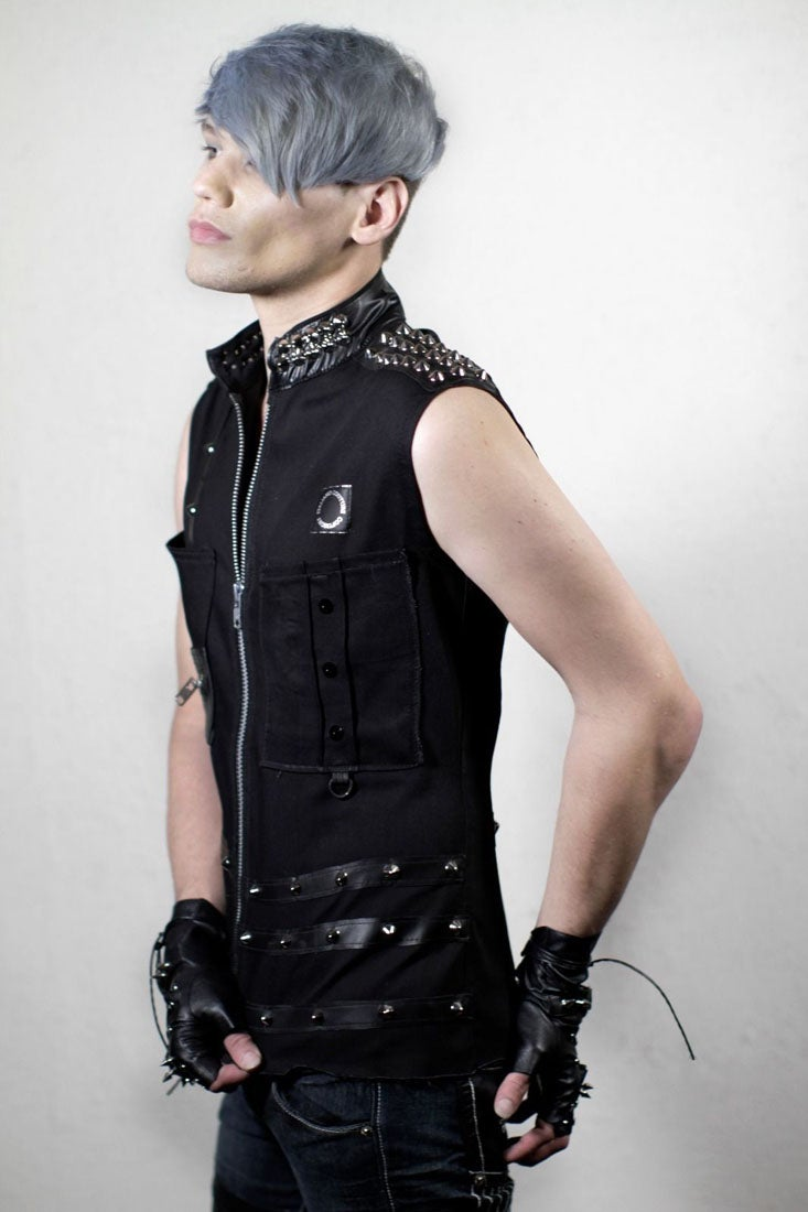 Image of Studded Black Denim Punk Vest