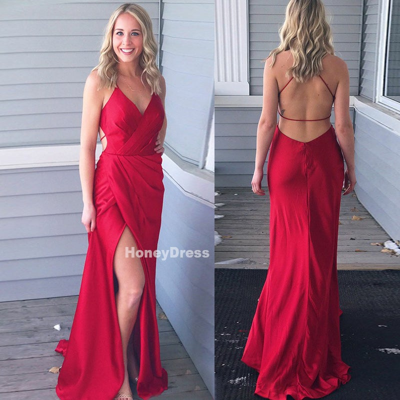 Image of Sexy Wine Red Silk Satin V-Neck Side Slit Long Prom Dress Formal Gown With Open Back