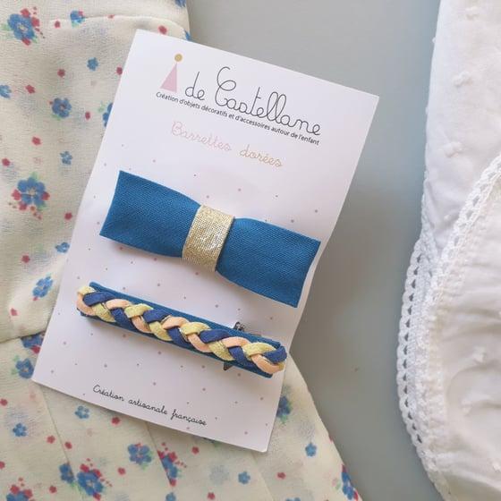Image of Duo barrettes tresse et noeud : bleu - corail et jaune