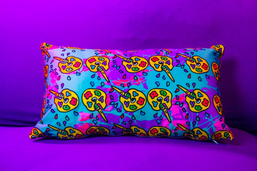 Image of Trippin Paint Palette Long Pillow