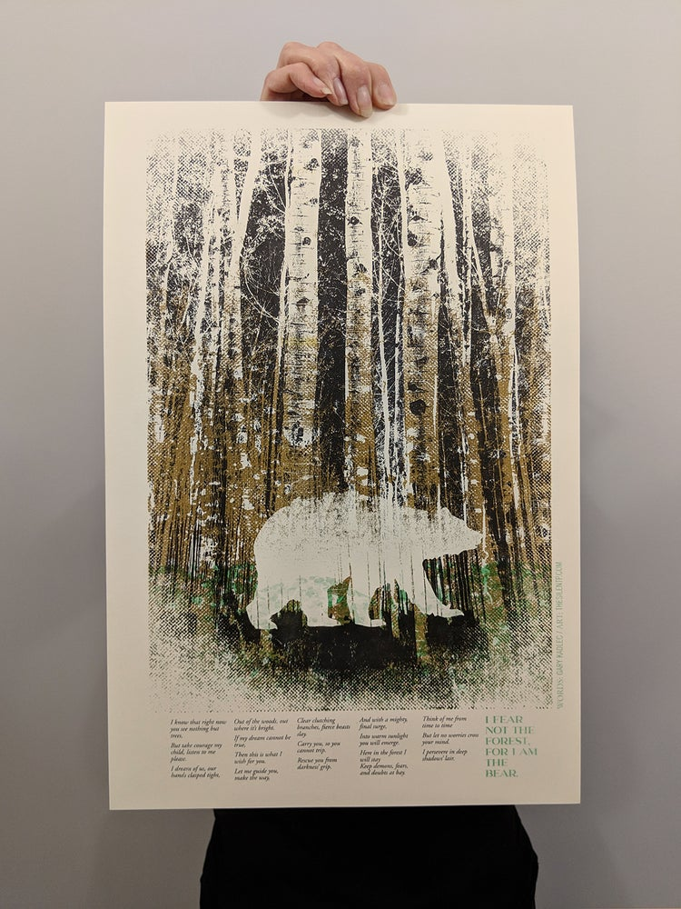 "Image of ""I Fear Not The Forest, For I Am The Bear"",  RISO print"