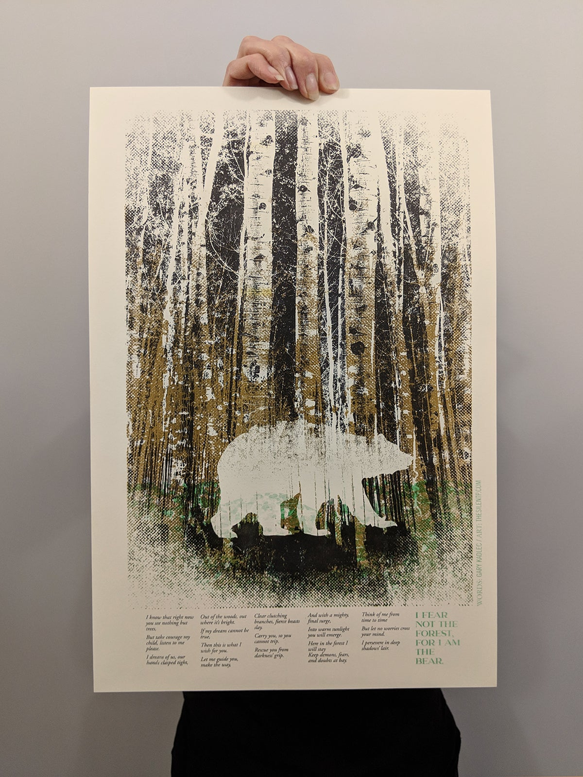 """Image of """"I Fear Not The Forest, For I Am The Bear"""",  RISO print"""