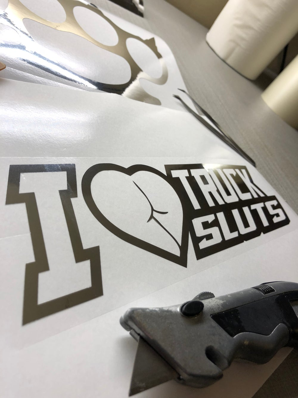 "Image of 10"" I Love Truck Sluts decal"