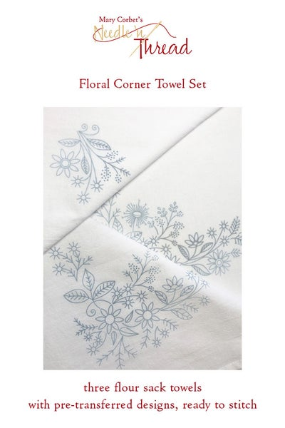 Image of Floral Corners Pre-Transferred Towel Sets