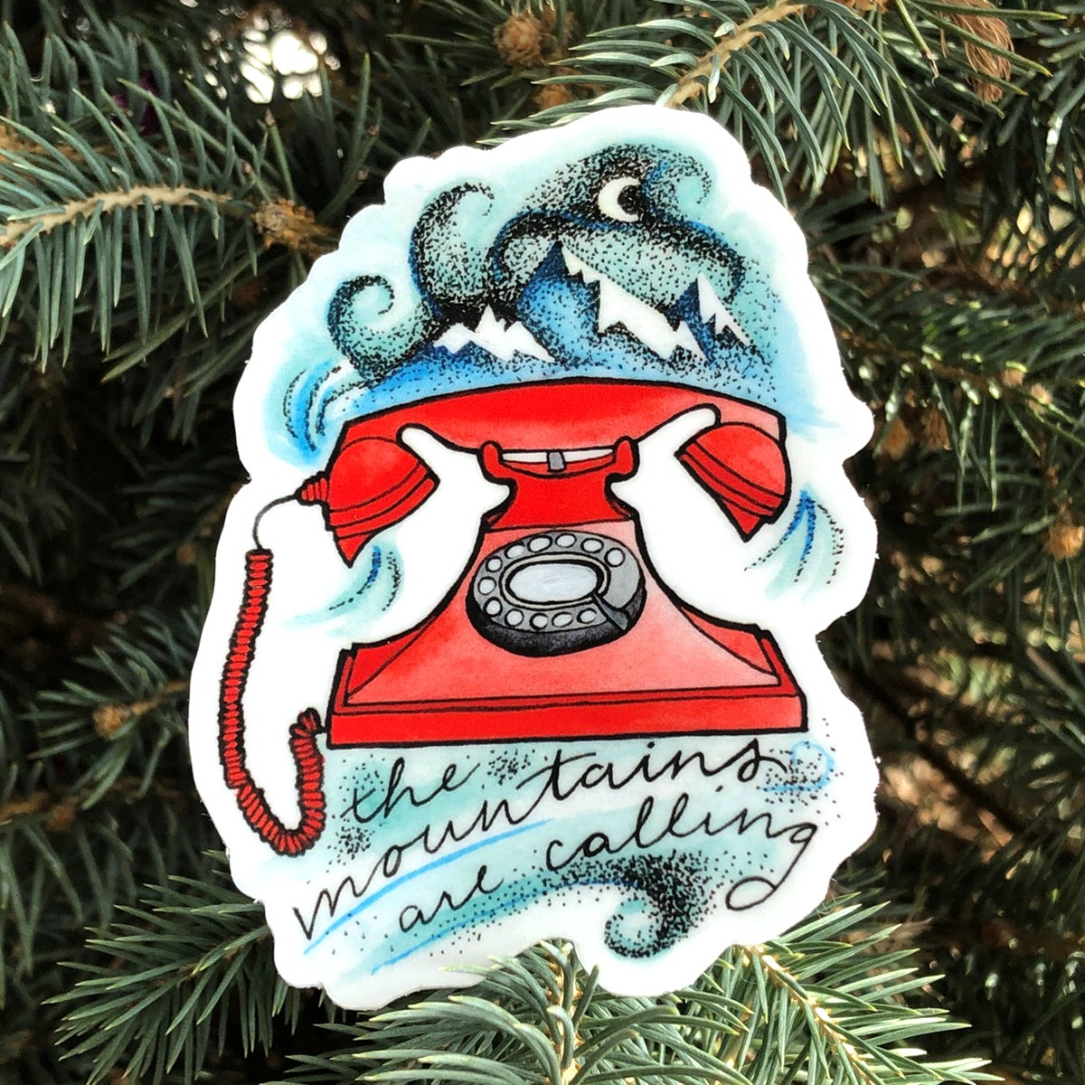"""Image of Mountains are Calling """"Telephone"""" sticker 3"""""""