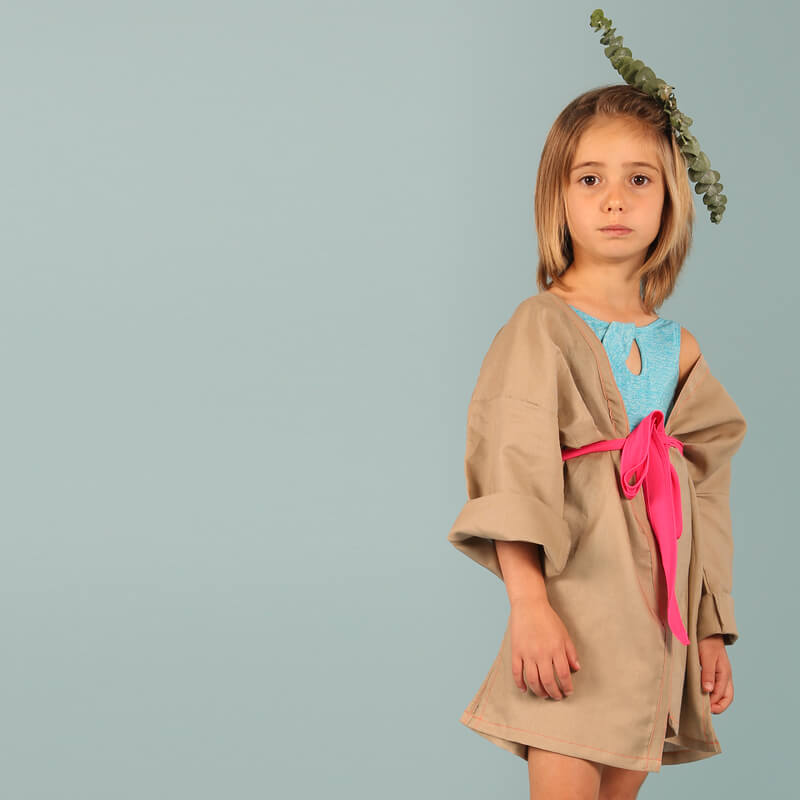 Image of Kimono MANDARIN / VESTIDO PLAYA Caramelo