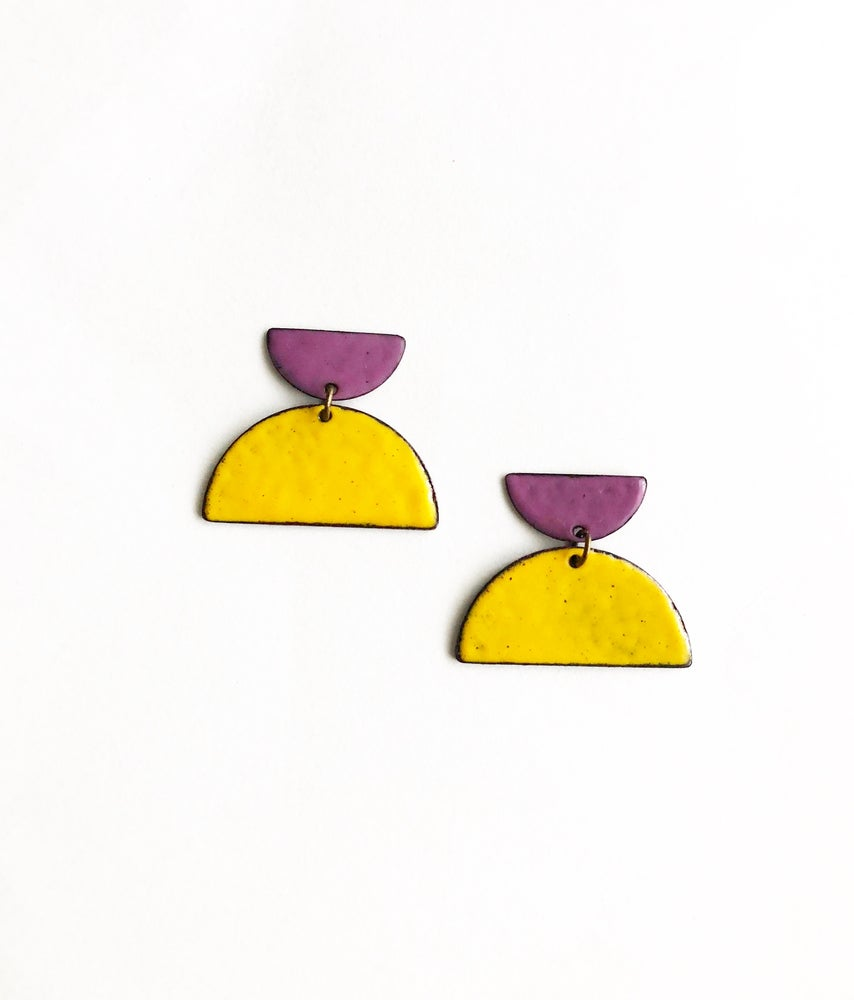 Image of Half Moon Enamel Earrings