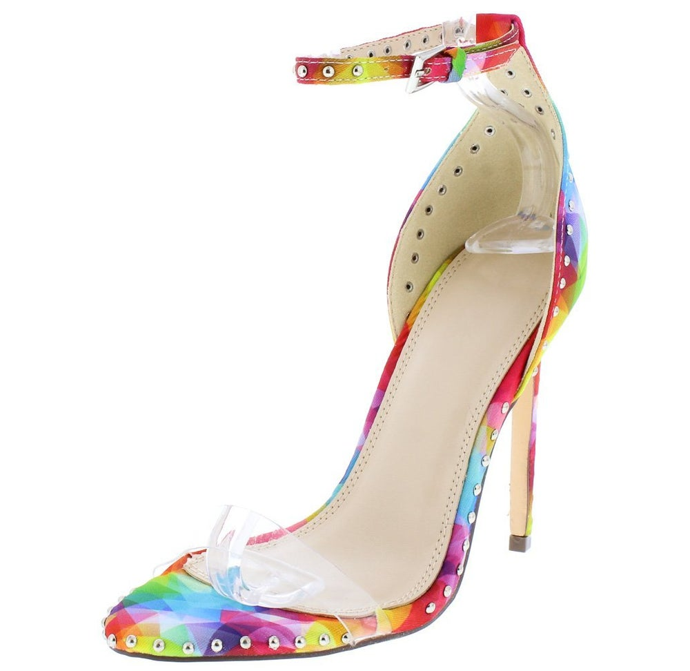 Image of Rainbow Lucite Open Toe Heels