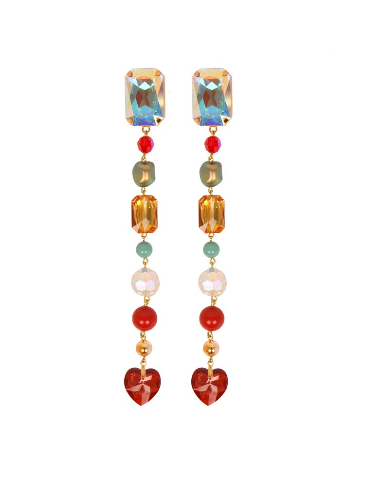 Image of SWAROVSKI BEAD CHAIN CLIP EARRINGS
