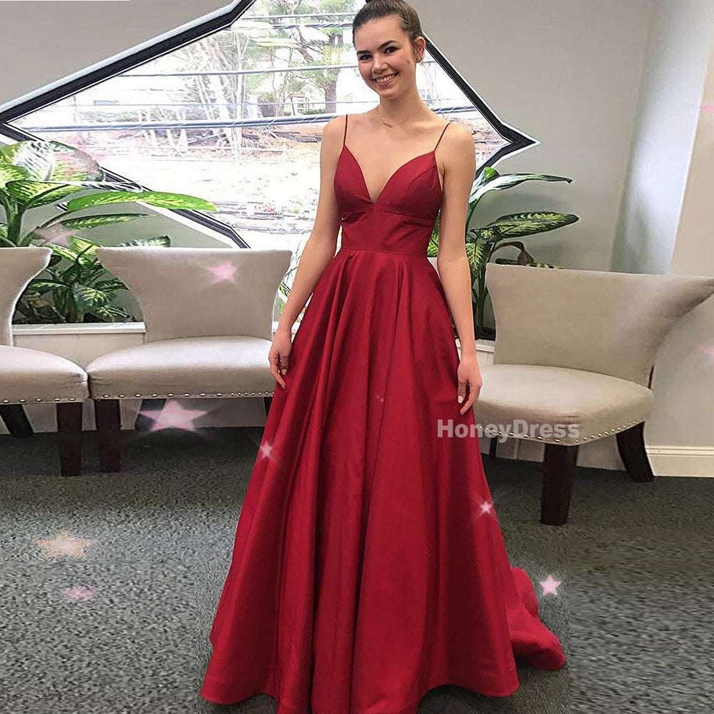 Image of Wine Red Princess Straps V-Neck Long Prom Dresses Satin Formal Evening Gowns With Open Back