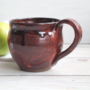 Image of 12 ounce Mug in Brown and Red Copper Glazes, FREE SHIPPING, Handcrafted Pottery Made in USA