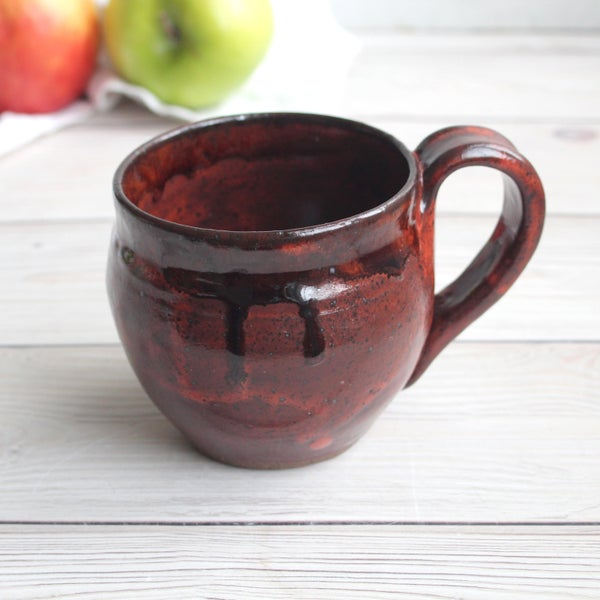 Image of 12 ounce Mug in Brown and Red Copper Glazes, Handcrafted Pottery Made in USA