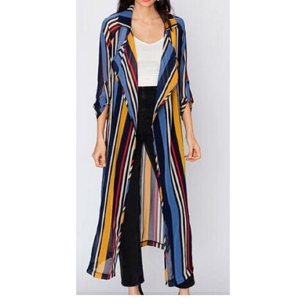 Image of Striped Longline Cardigan