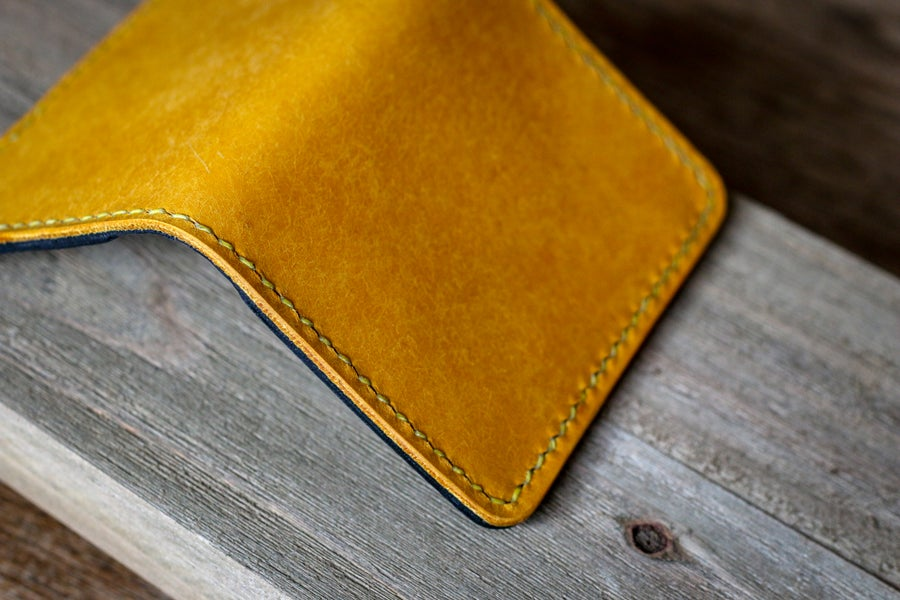 Image of Vertical Bifold Wallet in Yellow Pueblo and Black Dublin