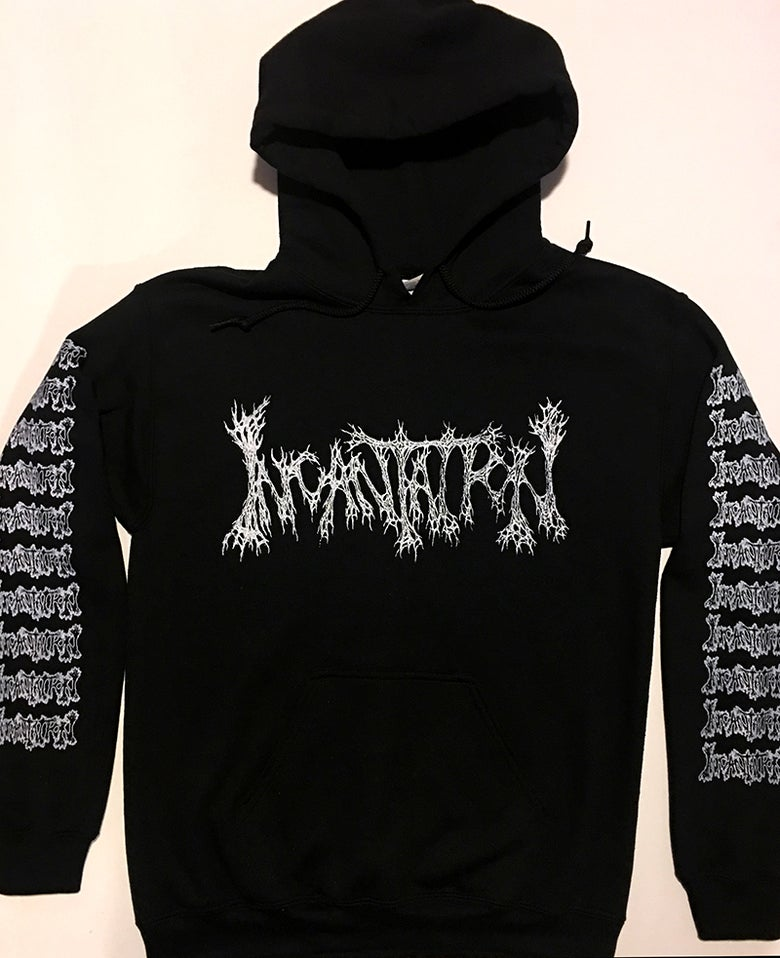 "Image of Incantation "" Rotting "" Hoodie with Sleeve Prints"