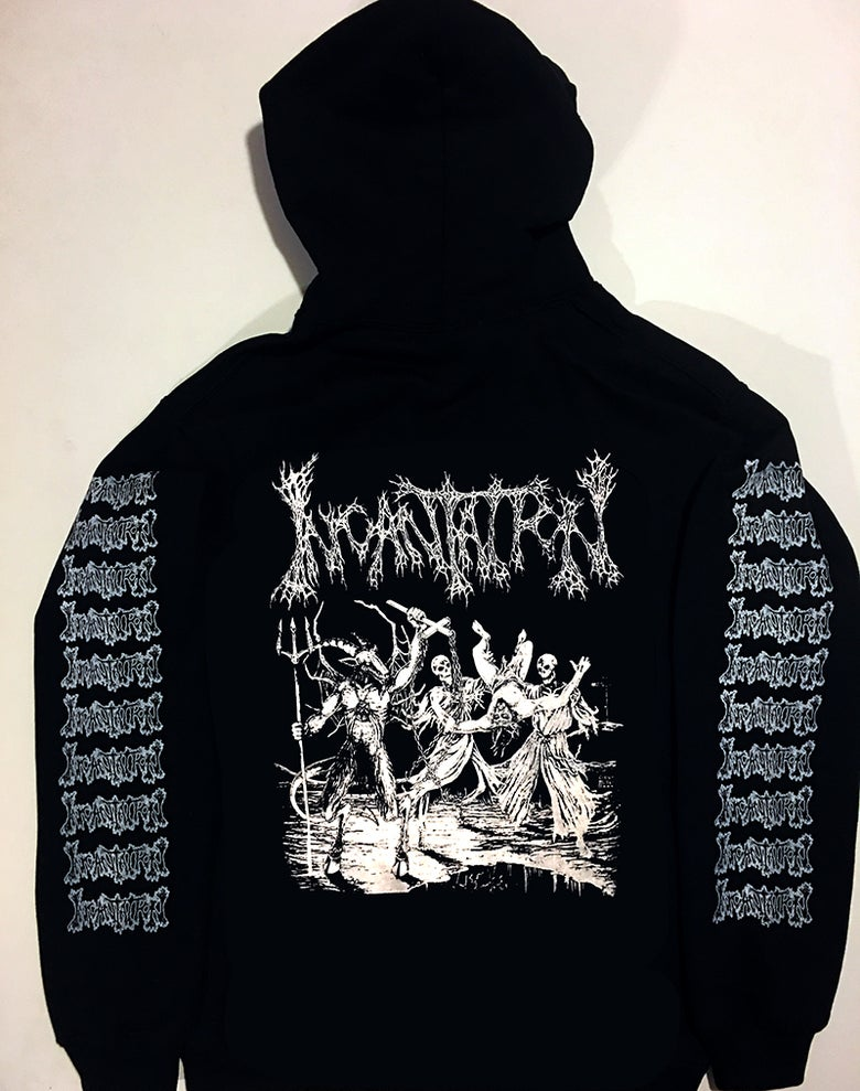 "Image of Incantation "" Blasphemous "" Hoodie with sleeve prints"