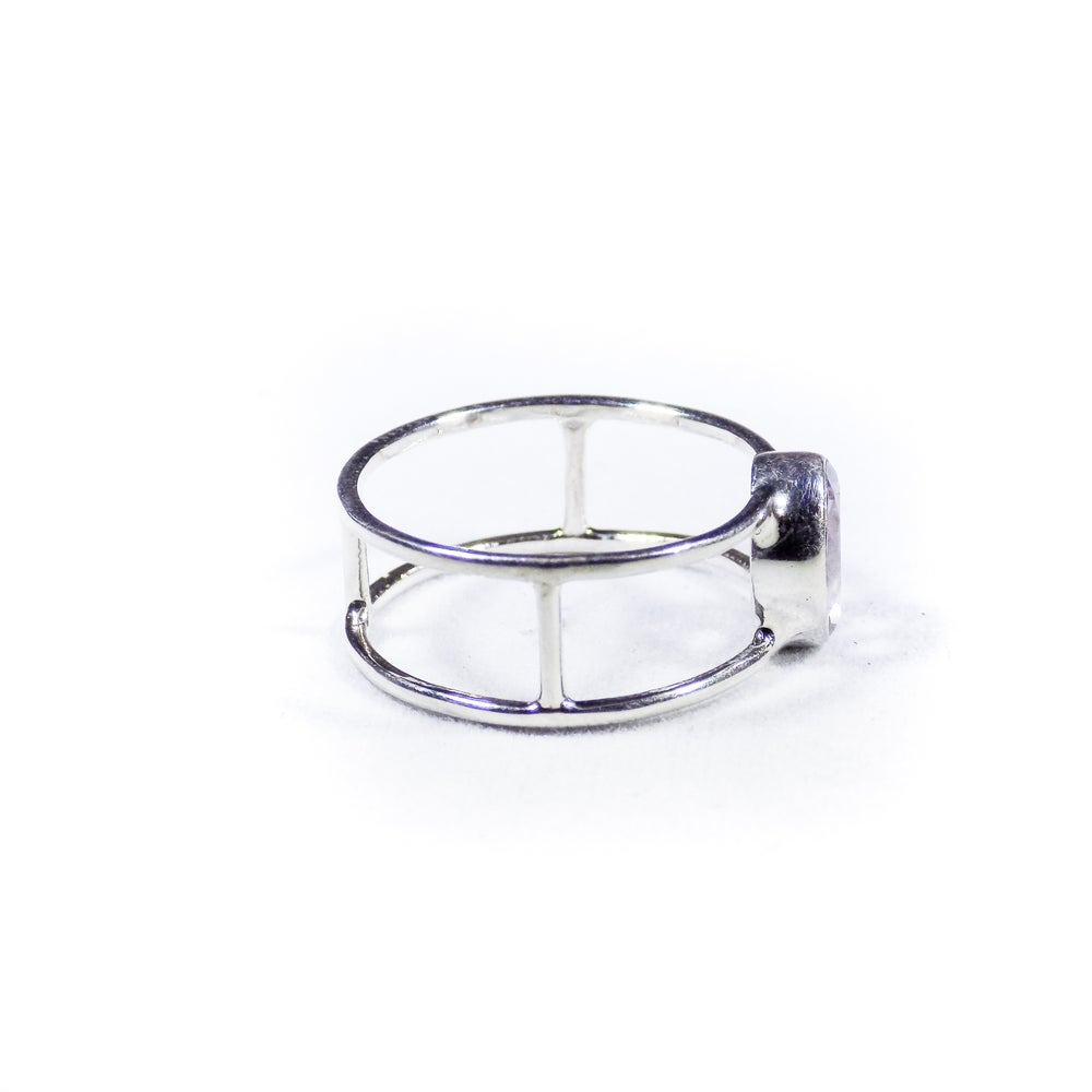 Image of Single Stone Double Band Pink Amethyst Ring- silver