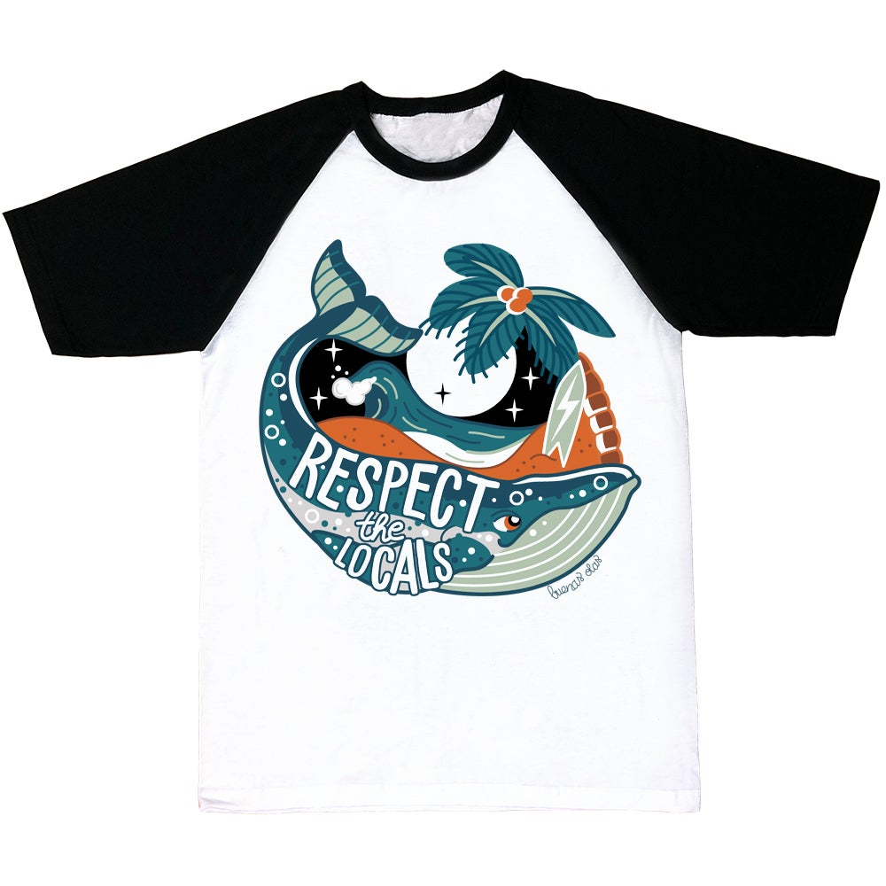Image of Respect the locals whale black sleeves T-shirt