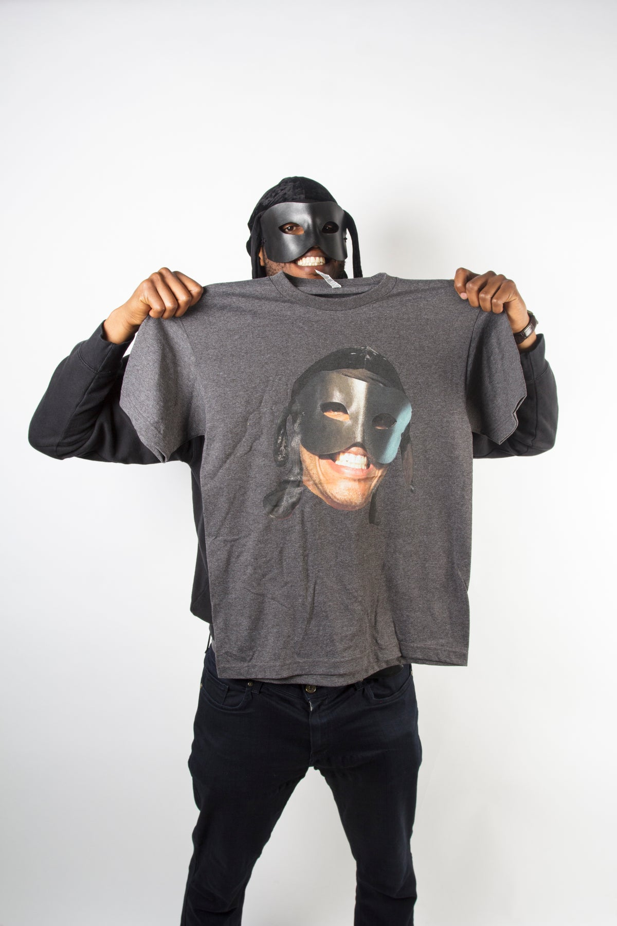 Image of Grey Big face T Shirt