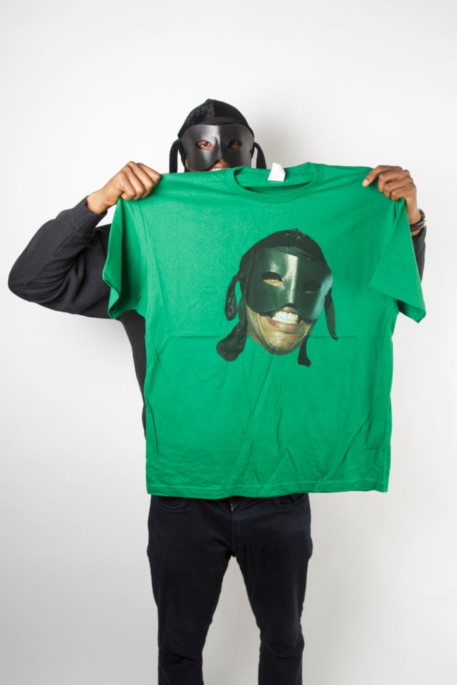 Image of Green Big face T Shirt