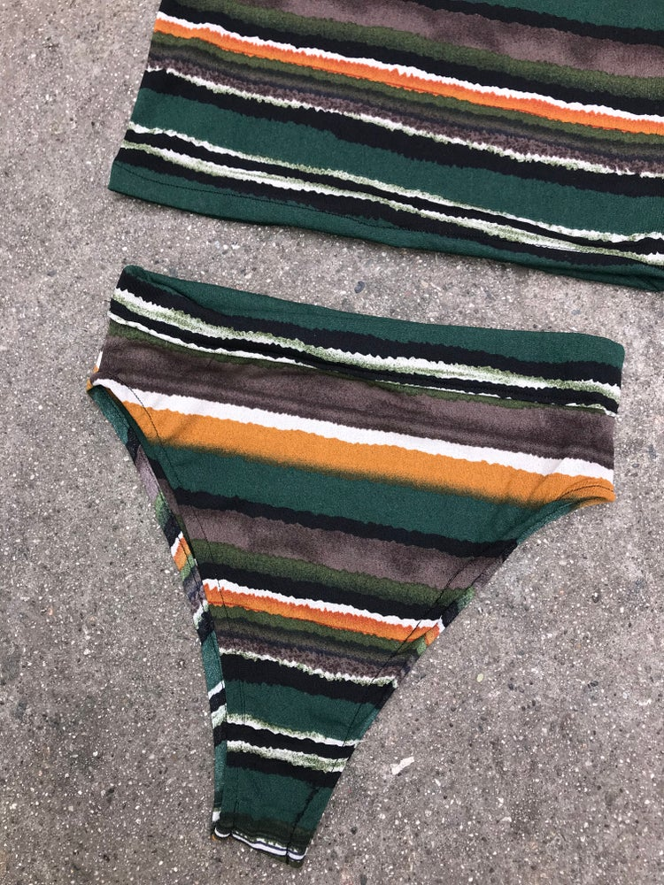 Image of Olive green striped 2 piece set