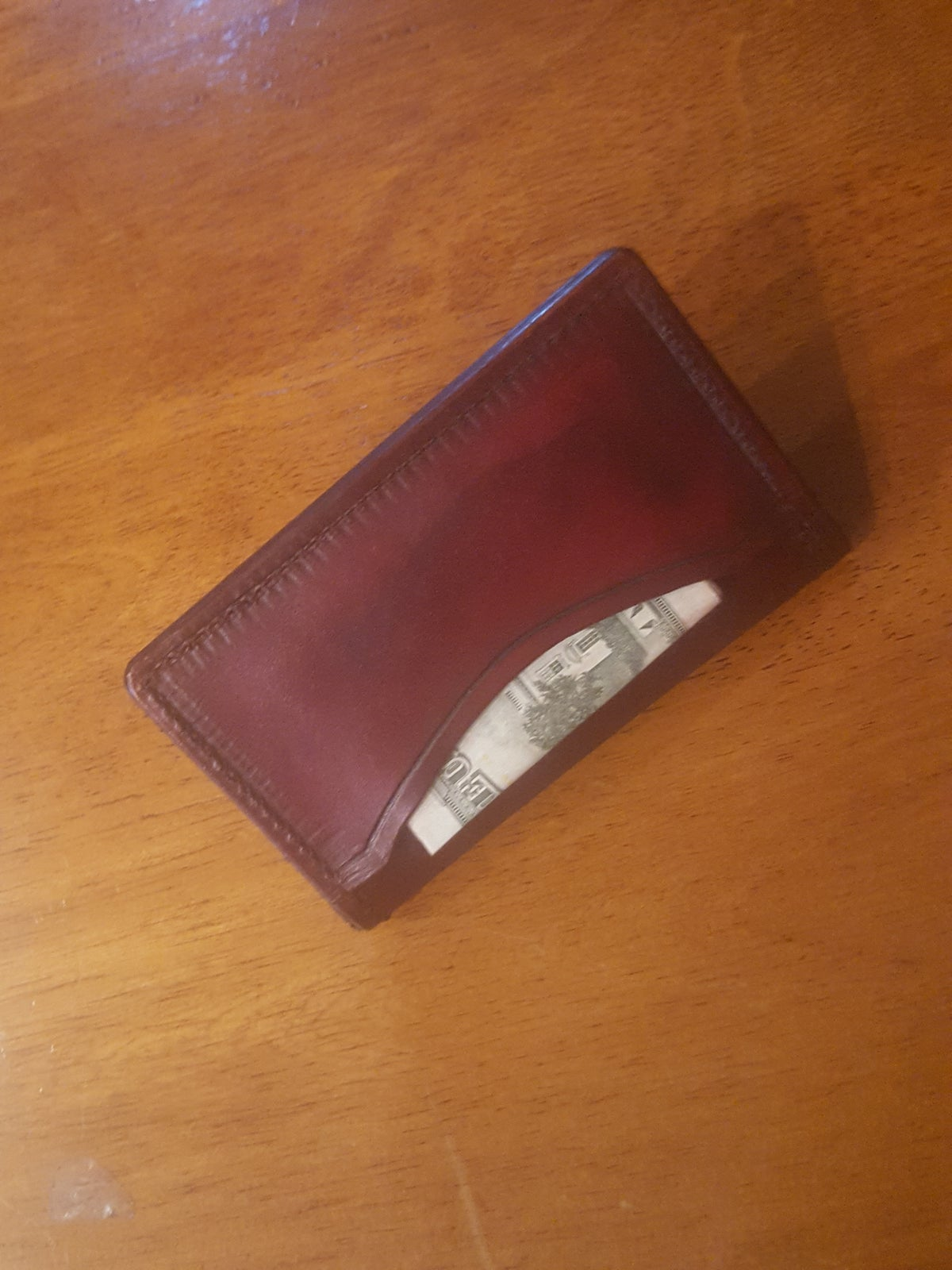 Image of Minimalist folding wallet #21 in ox blood red