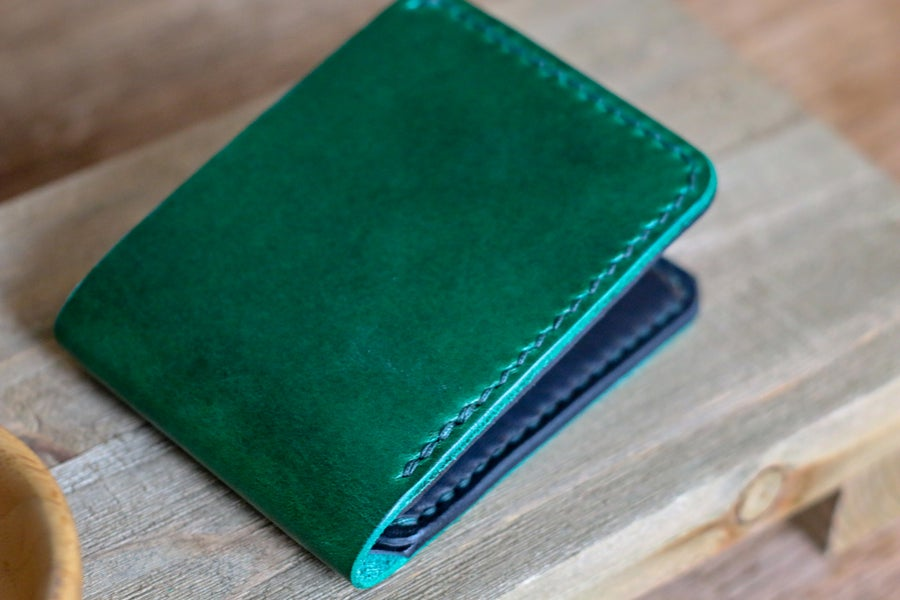 Image of Traditional Bifold in Green Buttero and Black Horween Dublin