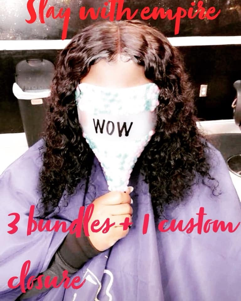 Image of 3 Bundle deal with custom lace  closure
