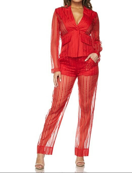 "Image of ""Red Hot"" Sheer Pants Suit"