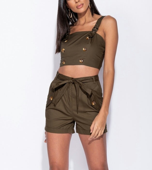 Image of Olive Button Detail Crop Top & Shorts