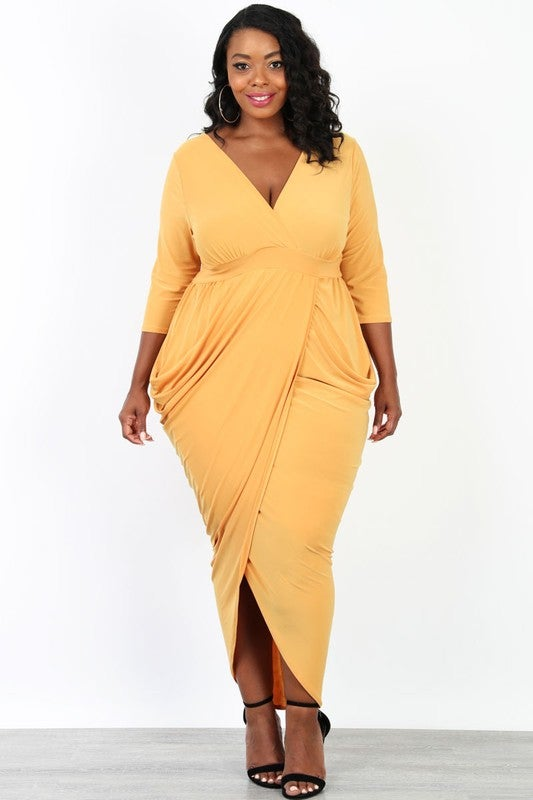 Image of Mustard Maxi Dress Plus