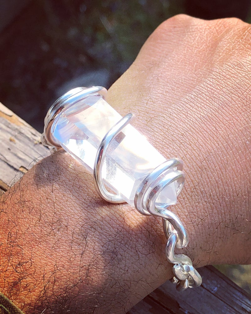 Image of Solid Fine Silver Set Crystal Bracelets (Power Bracelets)